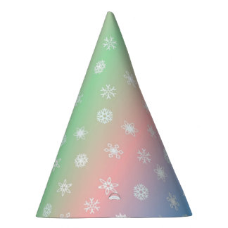 Festliche Schneeflocke und Pastell Striped Partyhütchen