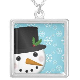 Festliche Schneemann-Feiertags-Halskette Halskette Mit Quadratischem Anhänger