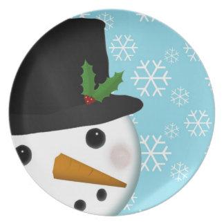 Festliche Schneemann-Feiertags-Platte Flache Teller