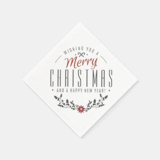Festliche Typografie-frohe Weihnachten Serviette