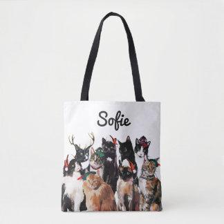 Festliche Watercolor-Katzen-personalisierter Tasche
