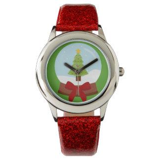 Festliche Weihnachtsbaum-Schnee-Kugel-Uhr Armbanduhr