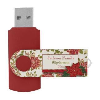 Festliche Weihnachtspoinsettias und -stechpalme USB Stick