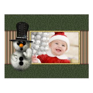 Festliche Weihnachtsschablone mit Schneemann Postkarte