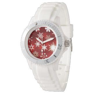 Festliche Weihnachtsschneeflocken Armbanduhr