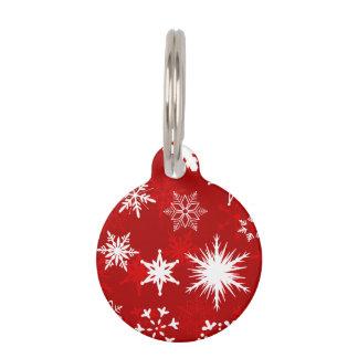 Festliche Weihnachtsschneeflocken Haustiermarke