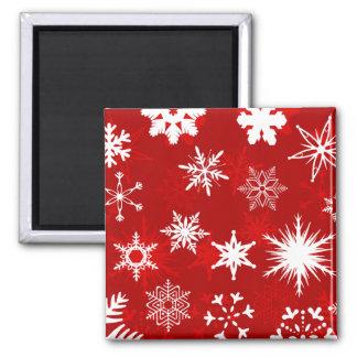 Festliche Weihnachtsschneeflocken Quadratischer Magnet
