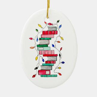 Festlicher Buch-Stapel Ovales Keramik Ornament