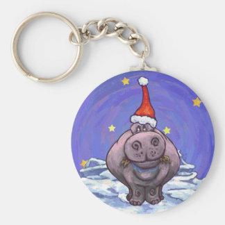 Festlicher Flusspferd-Feiertag Standard Runder Schlüsselanhänger