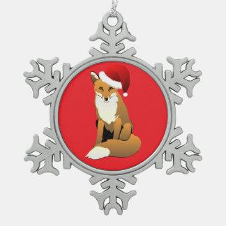 Festlicher Fox mit rotem Hintergrund Schneeflocken Zinn-Ornament