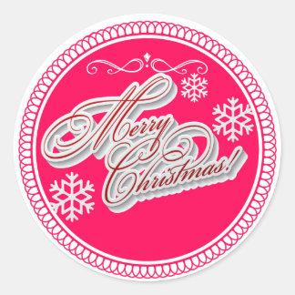 Festlicher frohe Weihnacht-weißer Runder Aufkleber