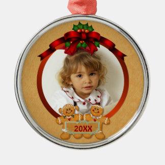 Festlicher Lebkuchen-Junge und Mädchen Silbernes Ornament