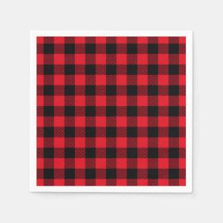 Festlicher roter karierter Muster-Feiertag Papierservietten