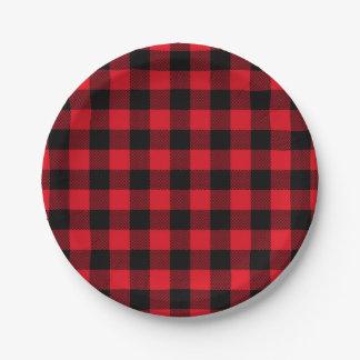 Festlicher roter karierter Muster-Feiertag Pappteller