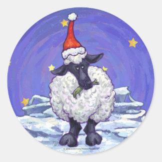 Festlicher Schaf-Feiertag Runder Aufkleber