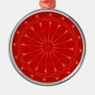 Festlicher schicker heller roter silbernes ornament