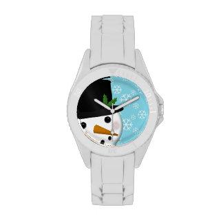 Festlicher Schneemann und Uhr