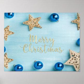 Festlicher Stern-Flitter-frohe Weihnacht-Glitter Poster