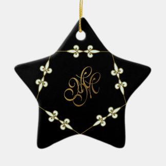 Festlicher viktorianischer Monogramm-Kunst Nouveau Keramik Ornament