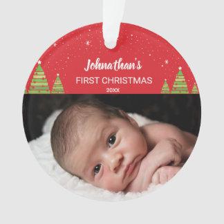 Festliches Babys erstes Weihnachtsfeiertags-Foto Ornament