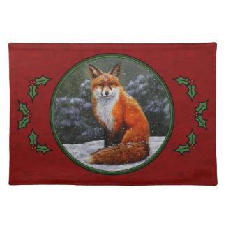Festliches Feiertags-Rot SchneeFox Stofftischset