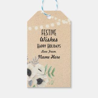 Festliches Geschenk etikettiert Geschenkanhänger