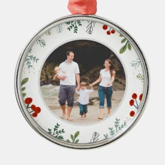 Festliches Rahmen-Feiertags-Andenken Silbernes Ornament