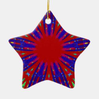 Festliches rotes Blau, das Kreismuster ausstrahlt Keramik Ornament
