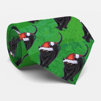Festliches schwarze Katzen-Muster auf Grün Krawatte
