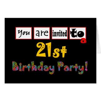 Festliches und buntes 21. Geburtstags-Party laden Karte