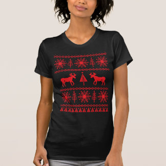 Festliches Weihnachtsstrickjacke-Muster T-Shirt