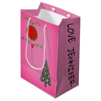 Festtages-Stechpalmen-Weihnachtsbaum Mittlere Geschenktüte