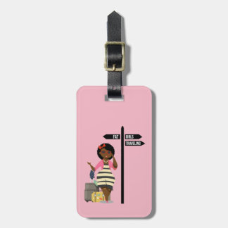 Fette Mädchen-reisender Gepäckanhänger