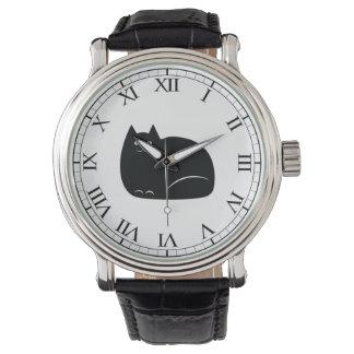 Fette schwarze Katze Armbanduhr