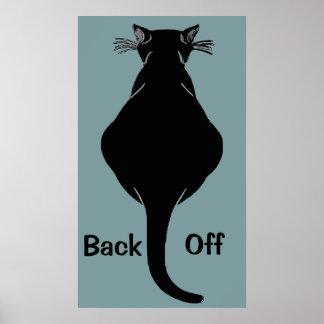 Fette schwarze Katze ziehen sich zurück Poster