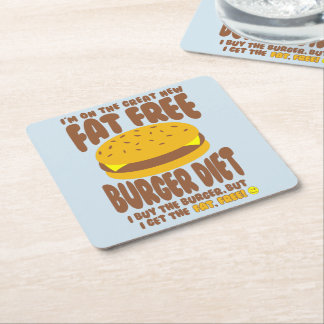 Fettfreie Burger-Diät Rechteckiger Pappuntersetzer