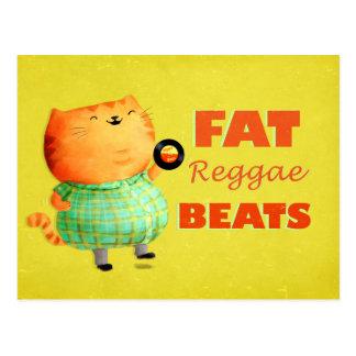 Fetthaltige fetthaltige fette Reggae-Katze Postkarte