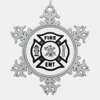 Feuer-Abteilung EMT Schneeflocken Zinn-Ornament