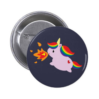 Feuer-AtmenEinhorn Runder Button 5,7 Cm
