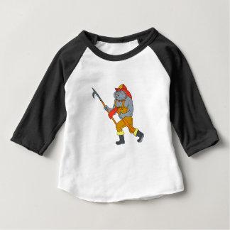Feuer-Axt-Zeichnen Bulldoggen-Feuerwehrmann-Pikes Baby T-shirt