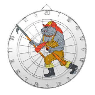 Feuer-Axt-Zeichnen Bulldoggen-Feuerwehrmann-Pikes Dartscheibe