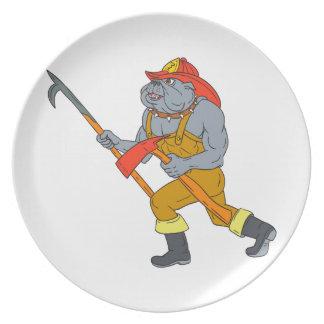 Feuer-Axt-Zeichnen Bulldoggen-Feuerwehrmann-Pikes Melaminteller