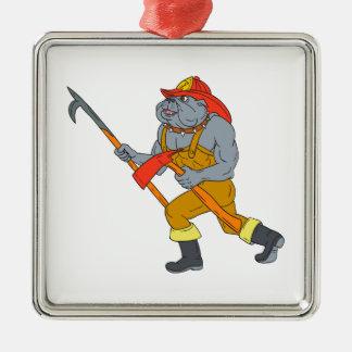 Feuer-Axt-Zeichnen Bulldoggen-Feuerwehrmann-Pikes Silbernes Ornament