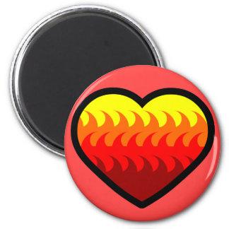 Feuer-Element-Herz Runder Magnet 5,1 Cm