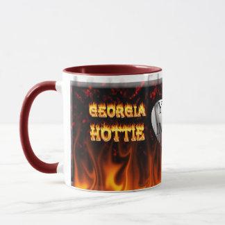 Feuer Georgia Hottie und rotes Marmorherz Tasse