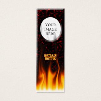 Feuer Großbritanniens Hottie und Flammen Rotmarmor Mini Visitenkarte
