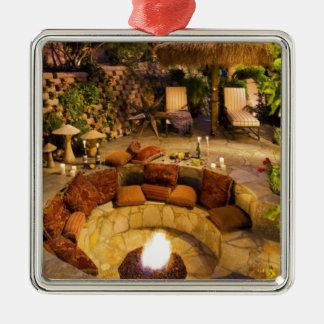 Feuer-Grube Quadratisches Silberfarbenes Ornament