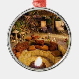 Feuer-Grube Rundes Silberfarbenes Ornament