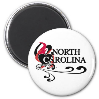 Feuer-Herz-North Carolina Runder Magnet 5,7 Cm
