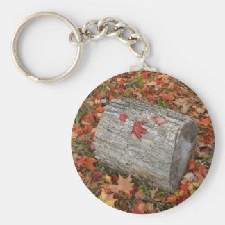 Feuer-Holz im Herbstlaub Schlüsselanhänger